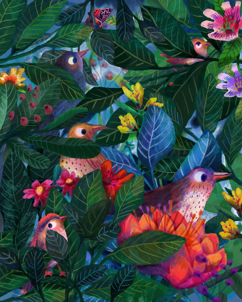 The Ladybird's walk - Flowers + feathers