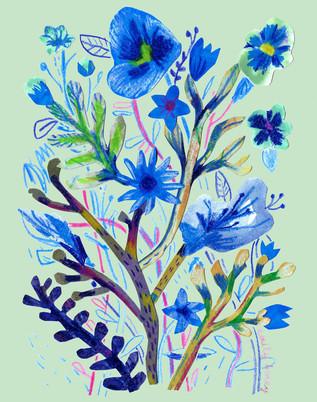 Blue flower collage