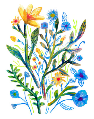 Yellow + blue collage flowers