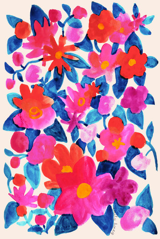 Watercolour flowers - Red Pink blue