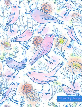 Line birds + flowers - blue line
