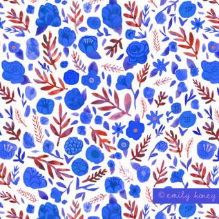 Flower heads + Leaves pattern - blue + r
