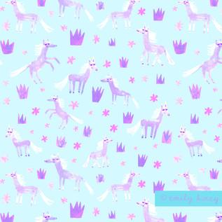 Ponies + Princesses pattern - Pale blue