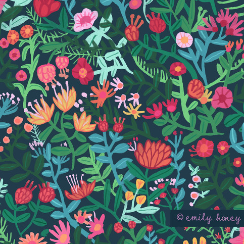 Floral ink repeat pattern - navy