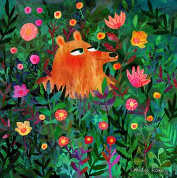 Bear in flowers