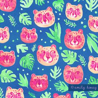 Jungle cheetah faces - Pink + green