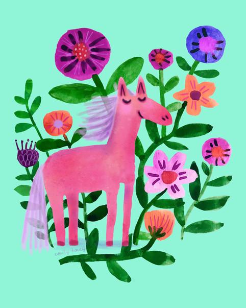 Pink pony + flowers - Mint