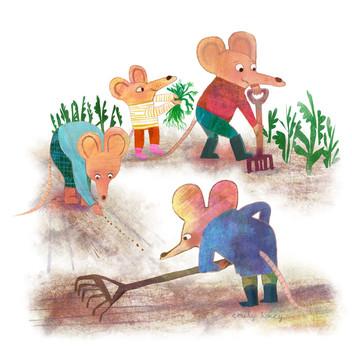 Gardening mice - spot illustrations