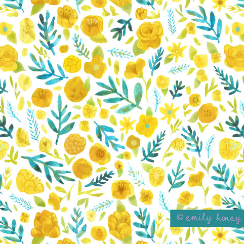 Flower heads + leaves pattern - Yellow