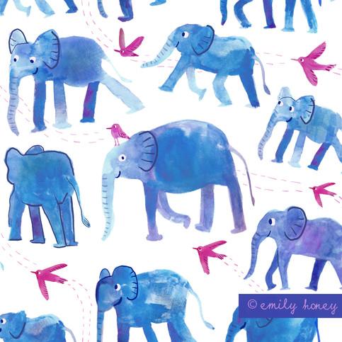 Elephants + birds pattern - white + blue