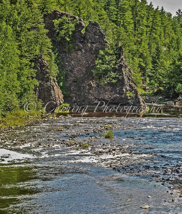 rock formation on river
