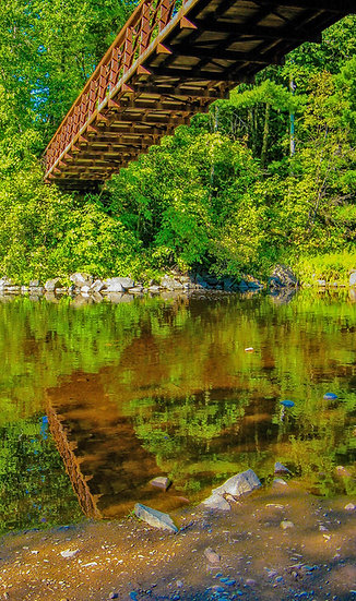 Photograph of the underside of a wooden bridge in the woods reflecting in a river