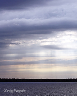 sun beams over lake superior