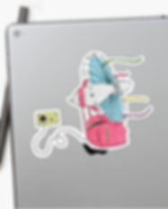 Medium Redbubble Sticker on iPad. Maria Olivo's Illustration
