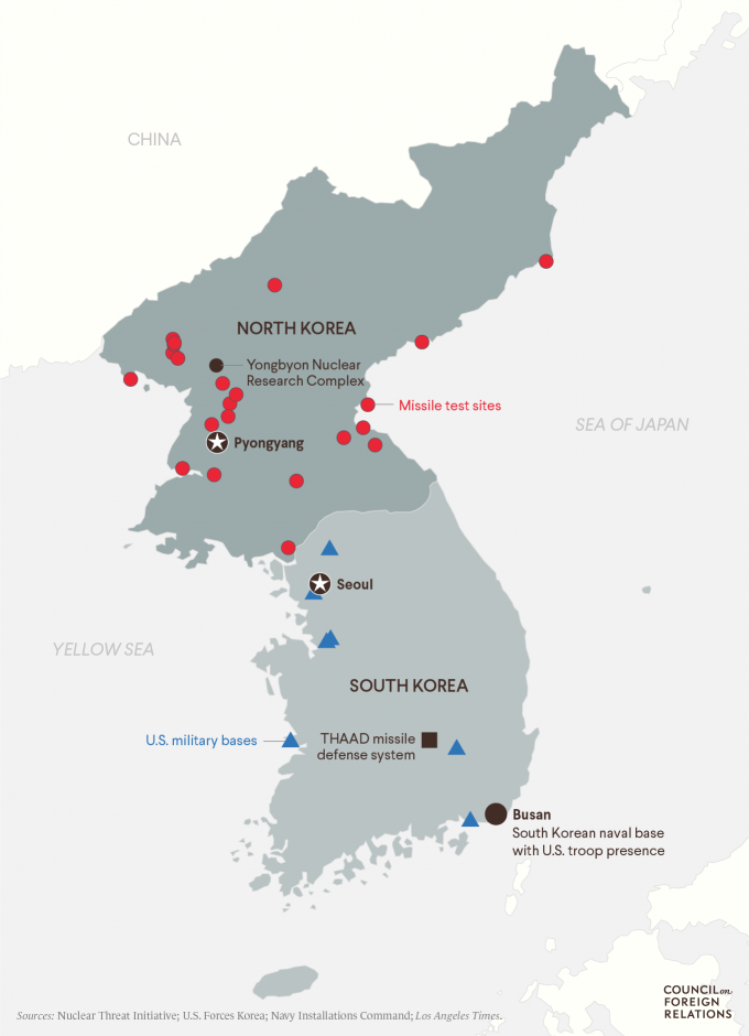 A map of North Korea and South Korea showing U.S. military bases and missile test sites.