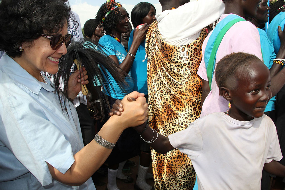 Special Representative for Children and Armed Conflict Leila Zerrougui in South Sudan meeting with children affected by the 2014 conflict. Photo: Office for Children and Armed Conflict/Stephanie Tremblay