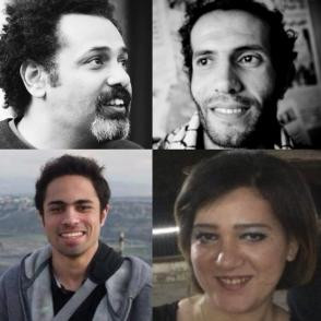 """Wael Abbas (top left), Haitham Mohamadeen (top right), Shady Abu Zaid (bottom left), and Amal Fathy (bottom right), were all arrested this month for charges such as joining """"a banned group"""" or """"terrorist organization"""" and spreading """"false news."""""""