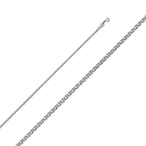 14k White Gold 2-mm Flat Open Wheat Chain