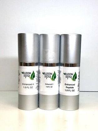 THE BLOOM SPA TRIO: Enhance A 1.0 oz, Enhanced A, C and Enhanced Peptide