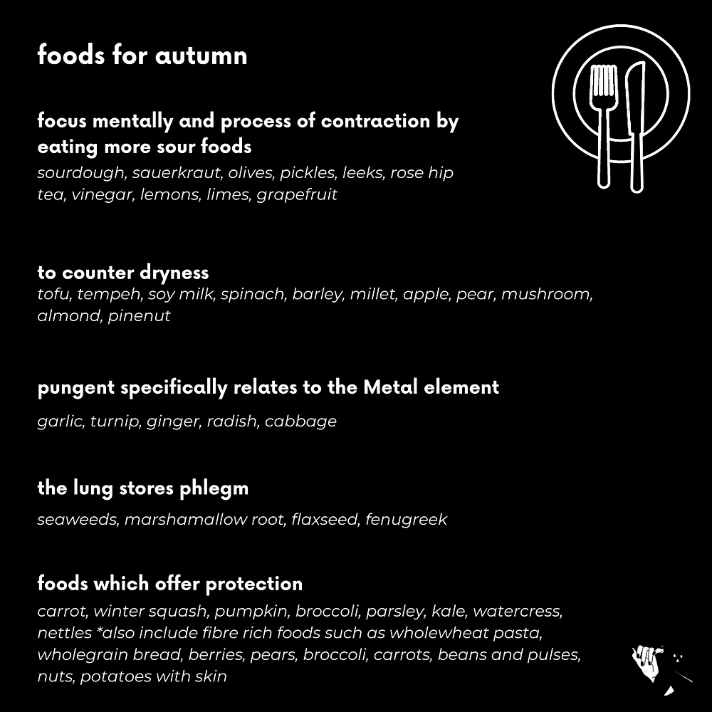 Foods for Autumn according to acupuncture
