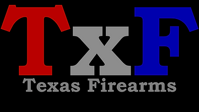 TxF Texas Firearms LOGO in color on blac