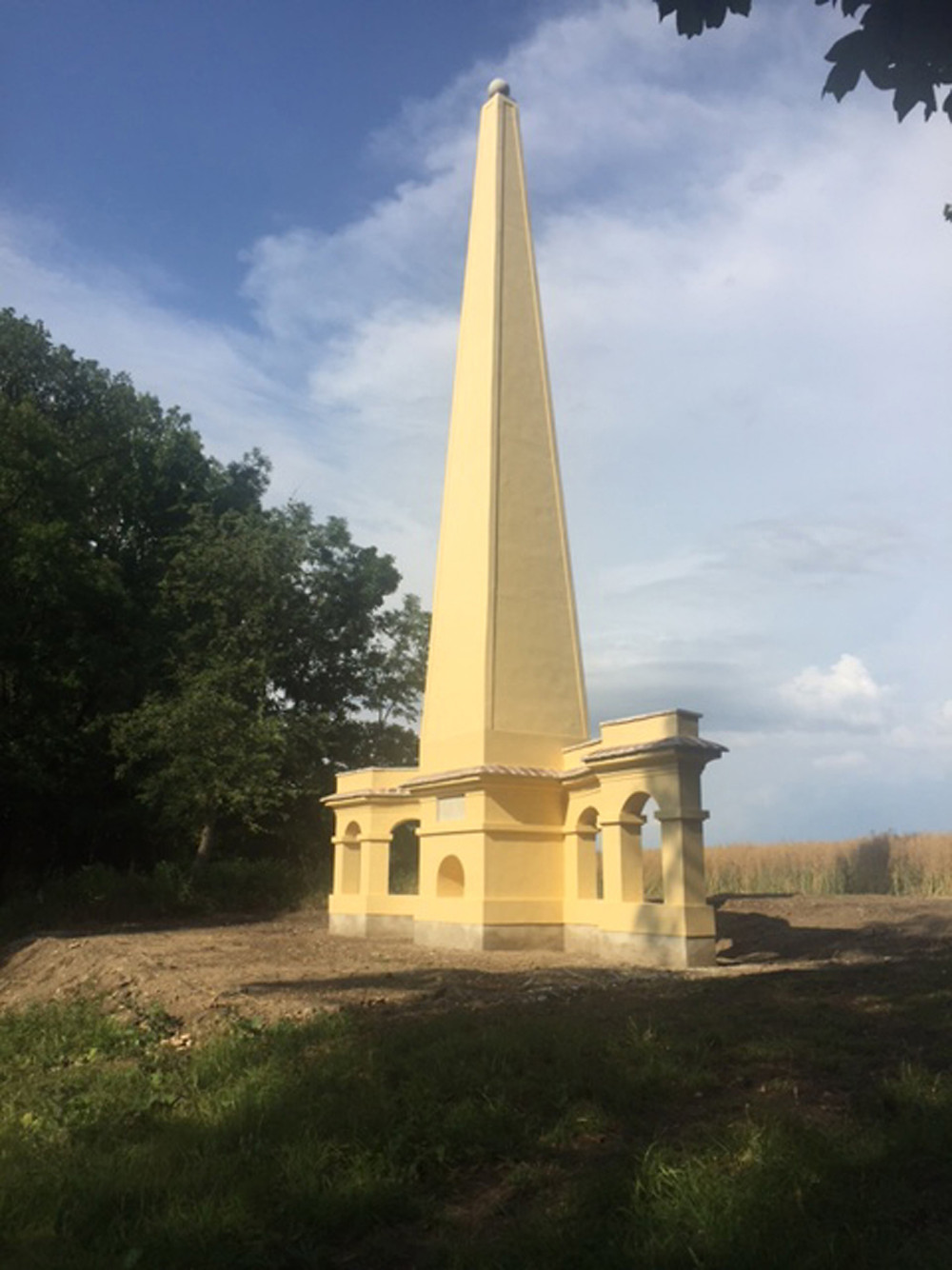 The restored obelisk in the park of the Château of Uherčice, a project of The Friends. Image © Ian Kennaway