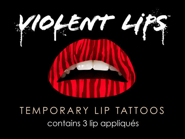 "Violent Lips Temporary Lip Tattoo ""Red Zebra"""