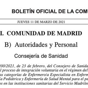Madrid convoca el proceso de integración voluntaria para la enfermería pediátrica