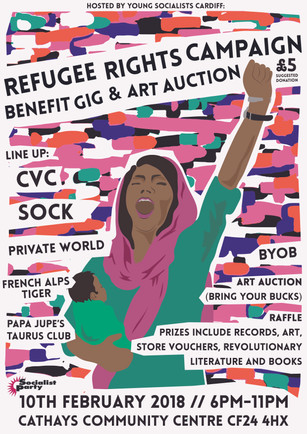 REFUGEE RIGHTS CAMPAIGN ART AUCTION/GIG POSTER
