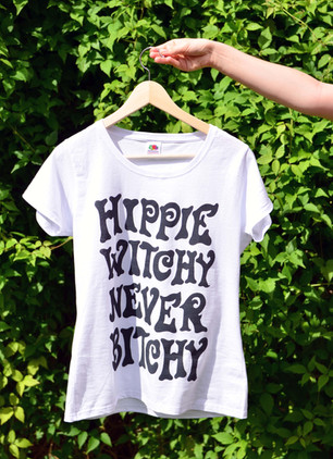 'HIPPIE WITCHY NEVER BITCHY' TEE FOR HIPPIE WITCH CLUB