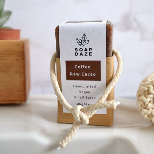 Coffee and Raw Cocoa Soap on a Rope