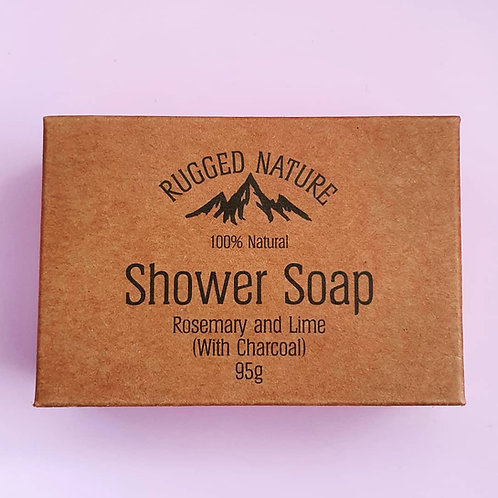 Shower Soap Bar Rosemary & Lime (with charcoal) 95g