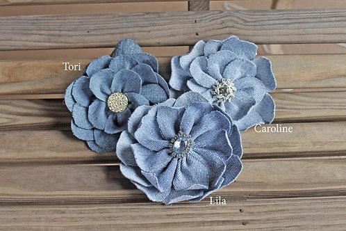 Denim Flower Pin with Bling!