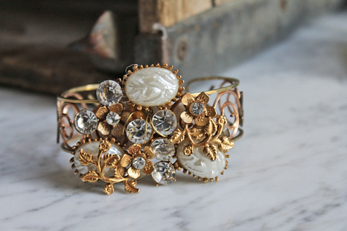 Rhinestones and Pearls Recycled Jewelry Statement Cuff Bracelet