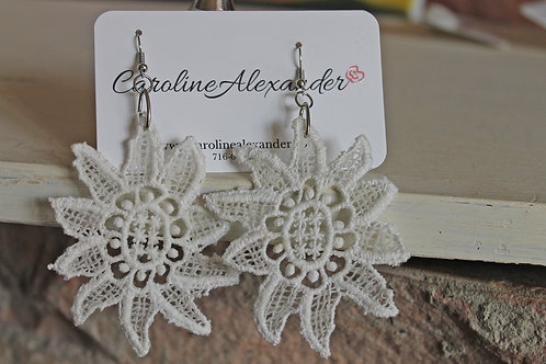 Large Statement Lace Flower Earrings