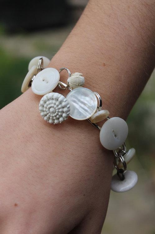 Vintage Dangle Button Bracelet - White