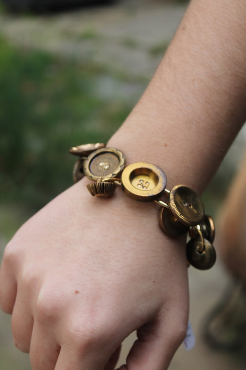 copy of Vintage Dangle Button Bracelet- Gold