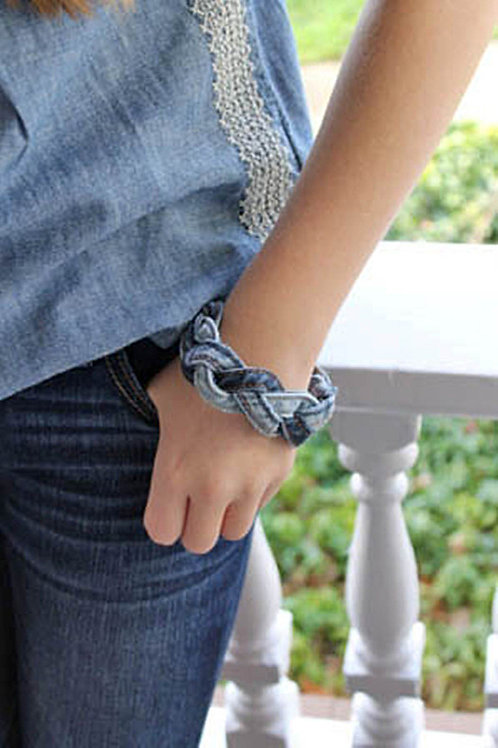 RECYCLED DENIM BRAIDED BRACELET