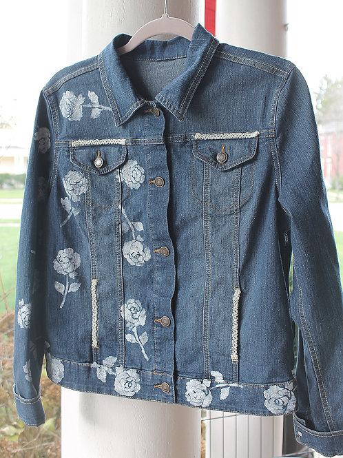 Painted White Roses Denim Jacket