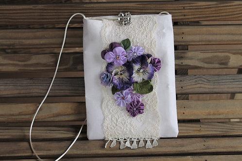Cotton Crochet Lace Pansy Bag