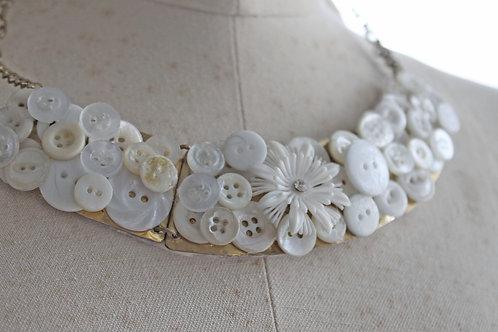 Vintage White Cluster Statement Necklace