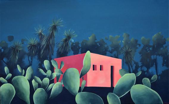 Casa rosa con tuneras 61 x 38