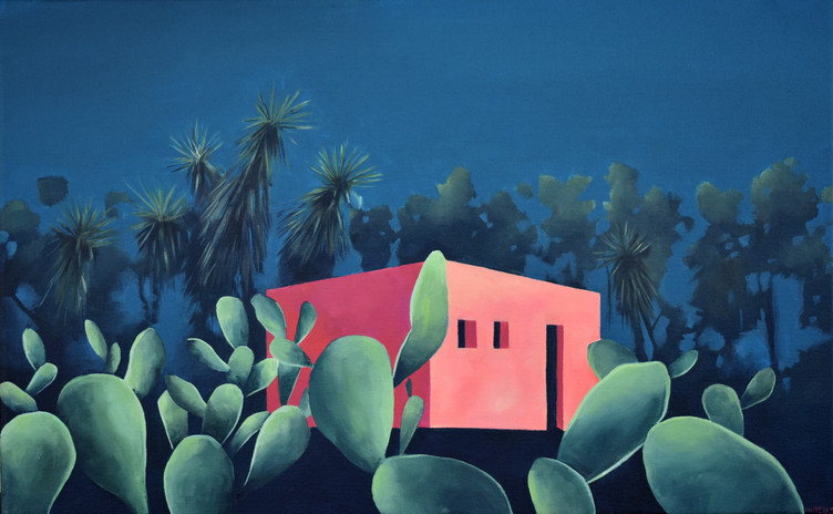 casa rosa con tuneras 61 x 38 cm