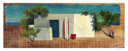 Casa con balde rojo y tabla70x27peq
