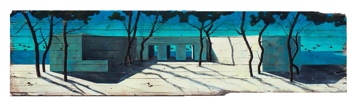 Casa con pinos y aves 194x50cmpeq