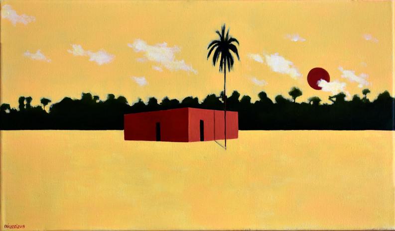 Casa y sol rojos 25 x 35 cm