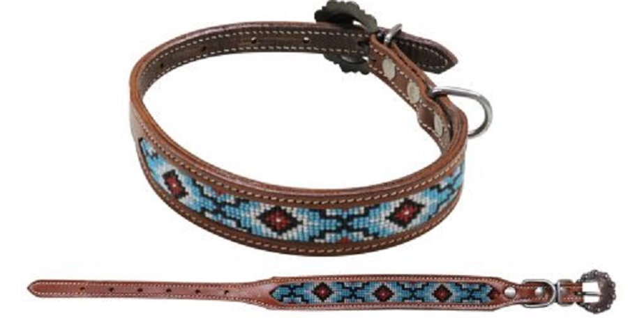 Beaded inlay leather dog collar with copper buckle