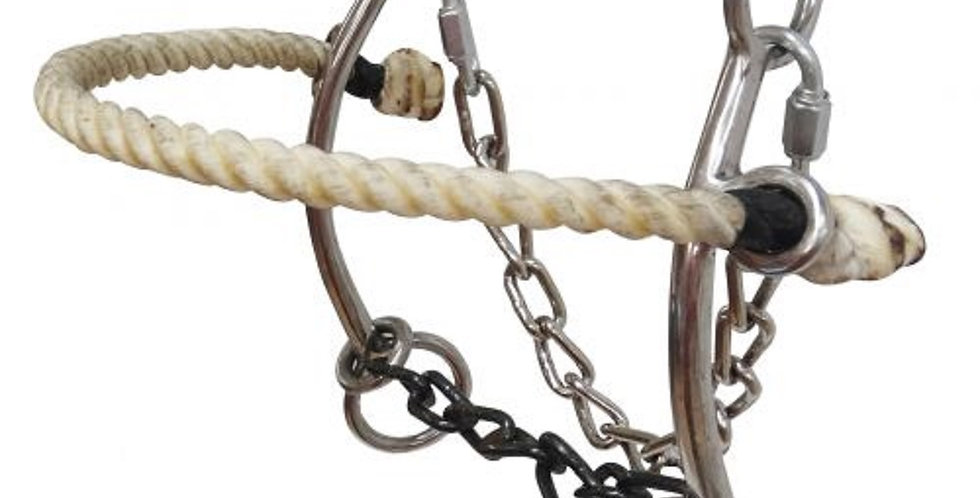"""5"""" Showman Stainless  Combo Rope Nose Hackamore Sweet Iron Sliding Chain Mouth"""
