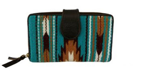 Genuine Leather 100% Wool Turquoise and Brown Saddle Blanket Wallet