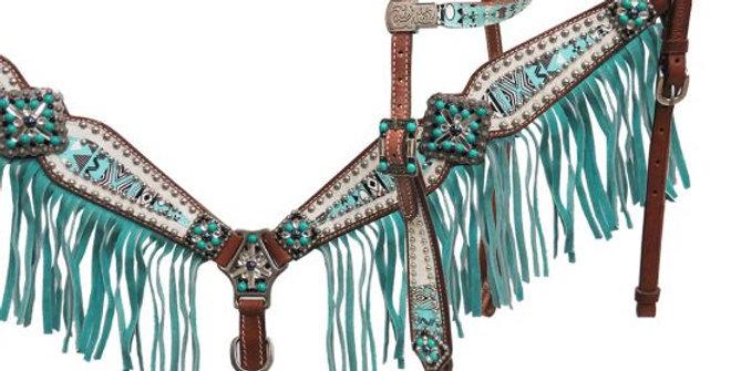 Showman Arctic Aztec Bridle & Breast Collar set